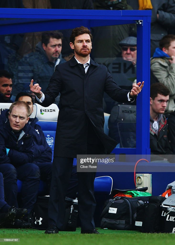 Andre Villas-Boas the Tottenham Hotspur manager gives instructions from the touchline during the Barclays Premier League match between Queens Park Rangers and Tottenham Hotspur at Loftus Road on January 12, 2013 in London, England.