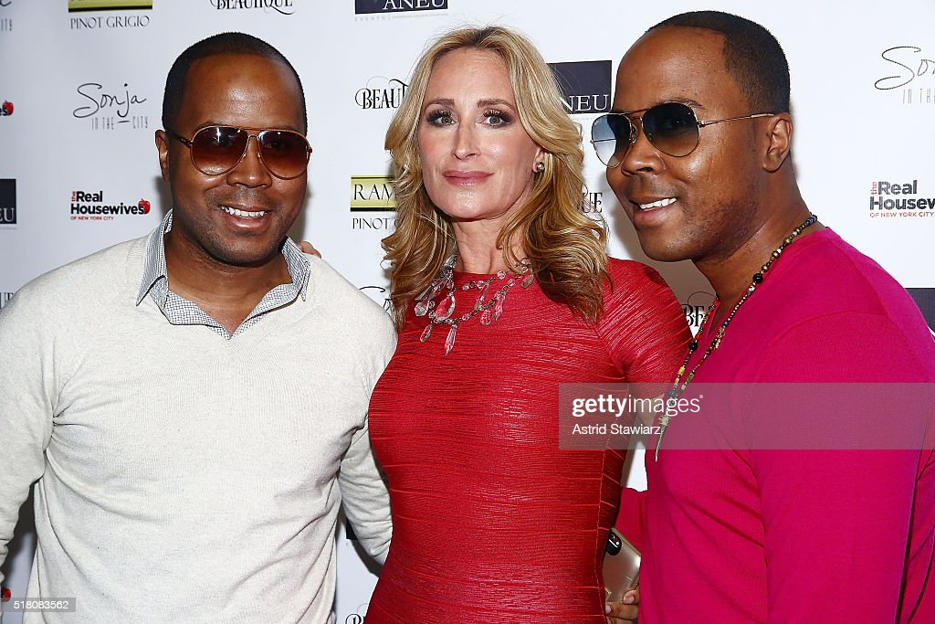 Andre Von Boozier,TV personality Sonja Morgan and Antoine Von Boozier attend 'The Real Housewives Of New York City' Season 8 Premiere Party at Beautique on March 29, 2016 in New York City.
