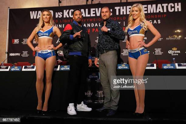 Andre Ward and Sergey Kovalev pose for photographs at the end of the press conference at the Roosevelt Ballroom on April 12 2017 in Los Angeles...