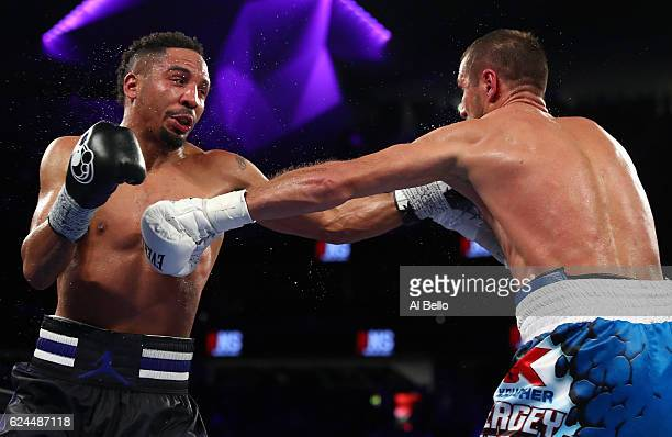 Andre Ward battles Sergey Kovalev of Russia during their light heavyweight title bout at TMobile Arena on November 19 2016 in Las Vegas Nevada