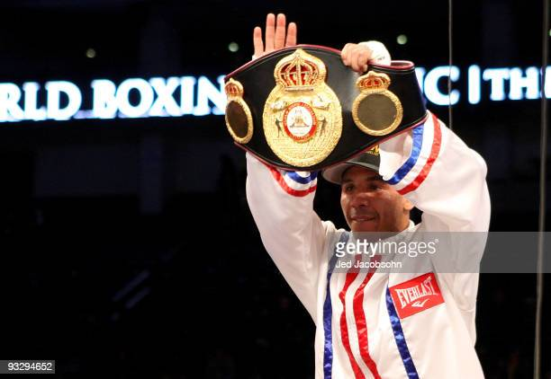 Andre Ward celebrates after defeating Mikkel Kessler of Denmark during their WBA Super Middleweight Championship Bout at the OaklandAlameda County...