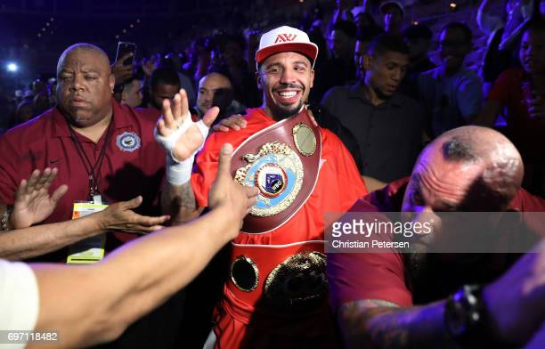 Andre Ward celebrates after his light heavyweight championship bout against Sergey Kovalev at the Mandalay Bay Events Center on June 17 2017 in Las...