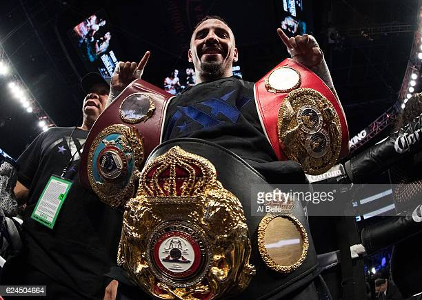 Andre Ward celebrates after his unanimousdecision victory over Sergey Kovalev in their light heavyweight title bout at TMobile Arena on November 19...