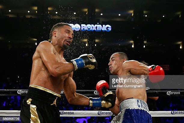 Andre Ward fights against Alexander Brand in their WBO Intercontinental Light Heavyweight Title bout at ORACLE Arena on August 6 2016 in Oakland...