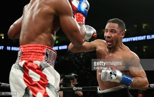 Andre Ward fights against Sullivan Barrera in their IBF Light Heavyweight bout at ORACLE Arena on March 26 2016 in Oakland California