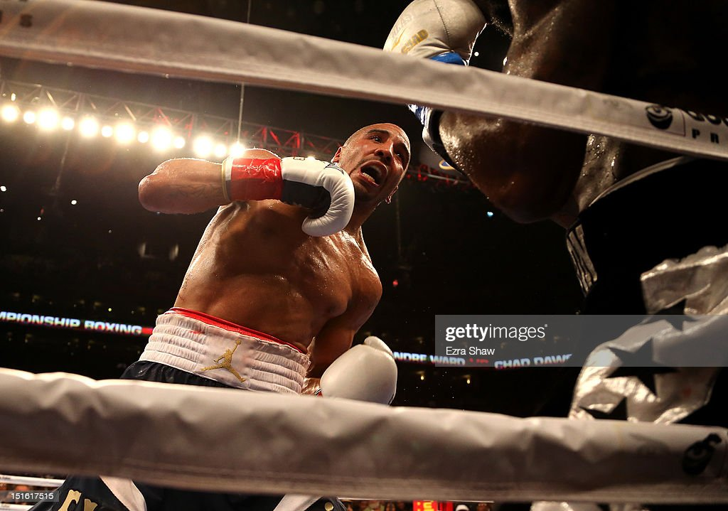 <a gi-track='captionPersonalityLinkClicked' href=/galleries/search?phrase=Andre+Ward&family=editorial&specificpeople=217398 ng-click='$event.stopPropagation()'>Andre Ward</a> hits <a gi-track='captionPersonalityLinkClicked' href=/galleries/search?phrase=Chad+Dawson&family=editorial&specificpeople=4026852 ng-click='$event.stopPropagation()'>Chad Dawson</a> during their WBA/WBC Super Middleweight championship fight at ORACLE Arena on September 8, 2012 in Oakland, California. Ward won by TKO in the 10th round.