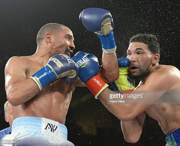 Andre Ward punches Edwin Rodriguez to a unanimous victory for the WBA super middleweight championsip at Citizens Business Bank Arena on November 16...