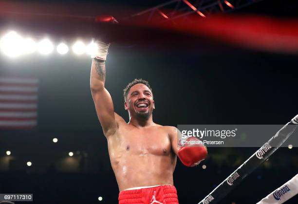 Andre Ward reacts after winning his light heavyweight championship bout against Sergey Kovalev at the Mandalay Bay Events Center on June 17 2017 in...