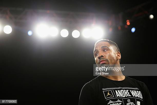 Andre Ward stands in the ring waiting for his fight against Sullivan Barrera to start in their IBF Light Heavyweight bout at ORACLE Arena on March 26...