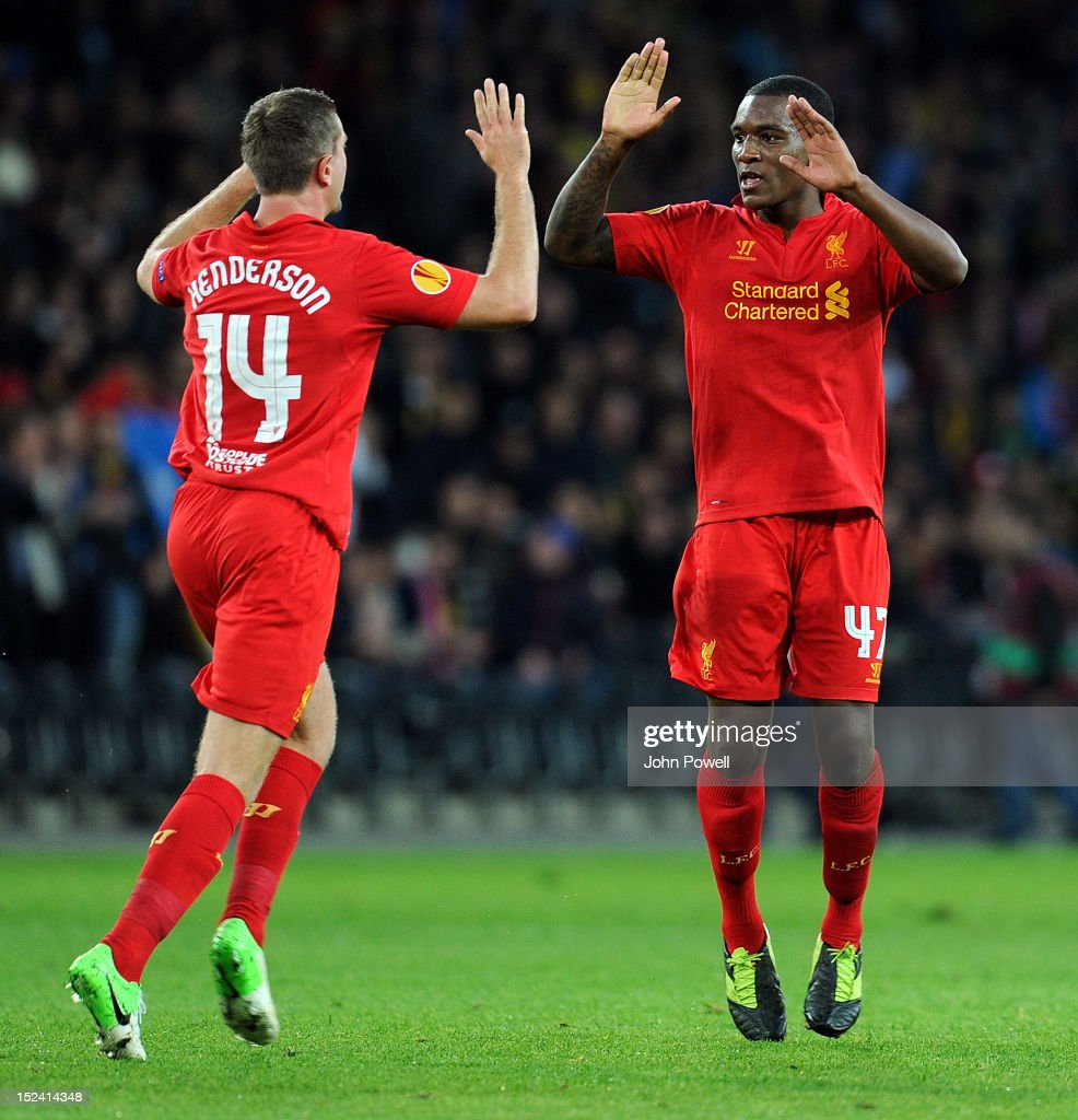Andre Wisdom (R) of Liverpool celebrates after scoing a goal during the UEFA Europa League match between BSC Young Boys and Liverpool FC at Stade de Suisse, Wankdorf on September 20, 2012 in Bern, Switzerland.