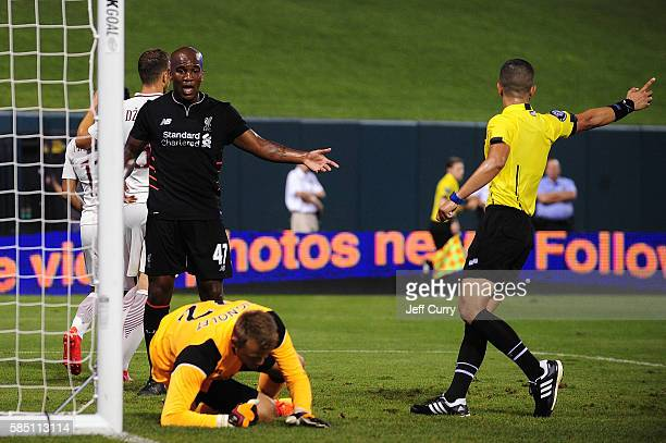 Andre Wisdom of Liverpool FC reacts after Simon Mignolet gave up the game winning goal to Mohamed Salah of AS Roma during a friendly match at Busch...
