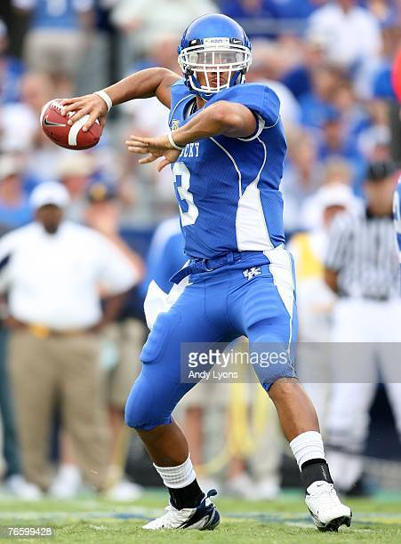 Andre Woodson of the Kentucky Wildcats throws a pass during the game against the Kent State Golden Flashes on September 8 2007 at Commonwealth...