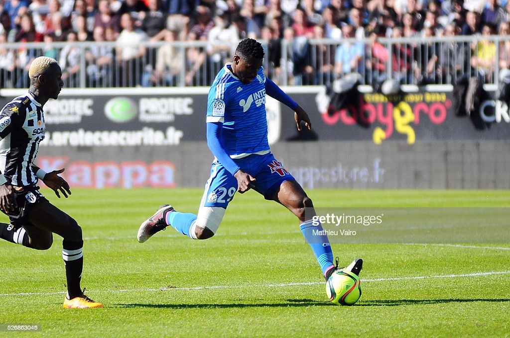 Andre Zambo Anguissa during the French Ligue 1 match between Angers SCO and Olympique de Marseille on May 1, 2016 in Angers, France.