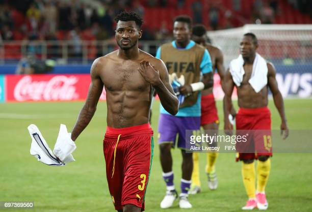 Andre Zambo of Cameroon walks off the pitch dejected after the FIFA Confederations Cup Russia 2017 Group B match between Cameroon and Chile at...