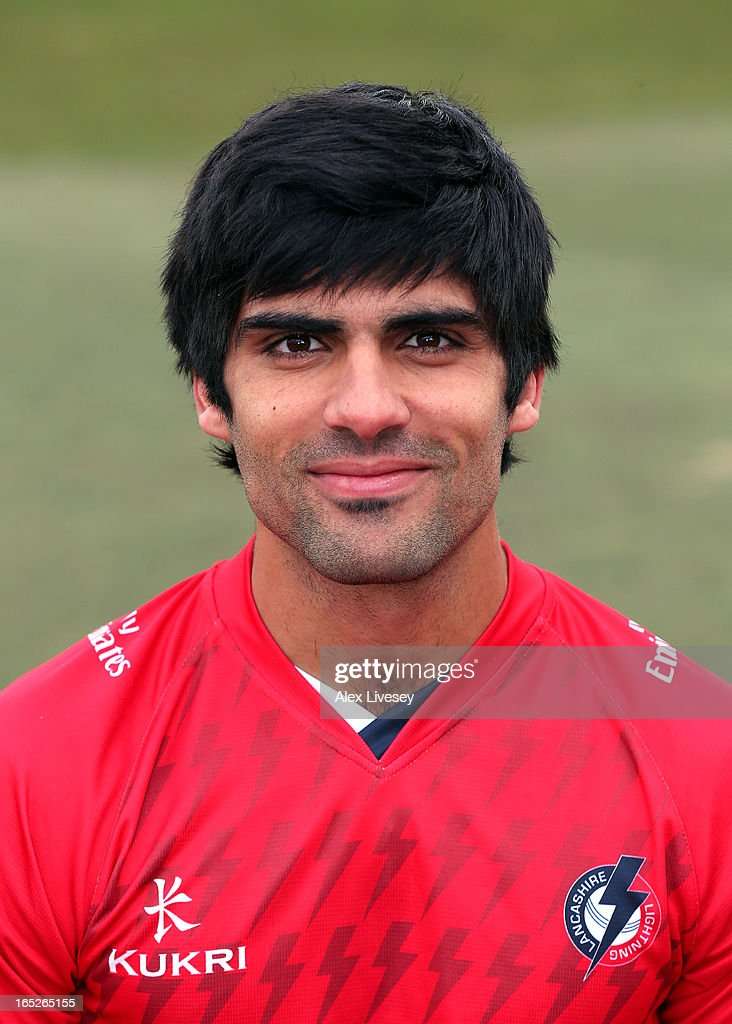 Andrea Agathangelou of Lancashire CCC wears the T20 kit during a pre-season photocall at Old Trafford on April 2, 2013 in Manchester, England.