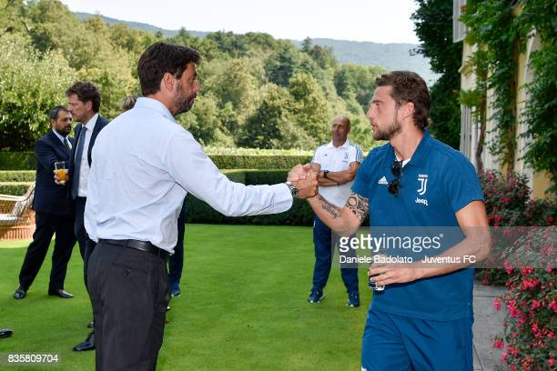 Andrea Agnelli and Claudio Marchisio during the preseason friendly match between Juventus A and Juventus B on August 17 2017 in Villar Perosa Italy