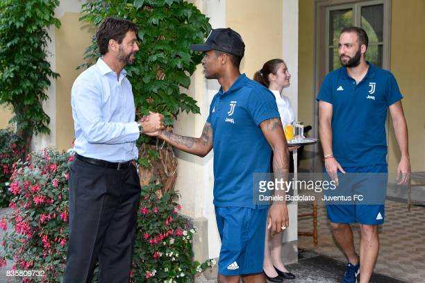 Andrea Agnelli and Douglas Costa during the preseason friendly match between Juventus A and Juventus B on August 17 2017 in Villar Perosa Italy