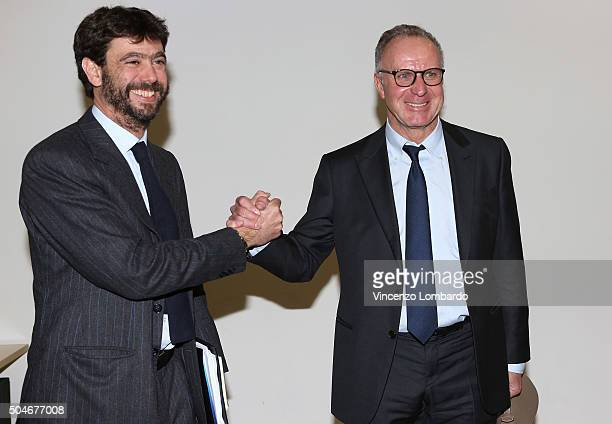 Andrea Agnelli and Karl Heinz Rummenigge attend the Financial Fairplay Europe Italy Workshop on January 12 2016 in Milan Italy