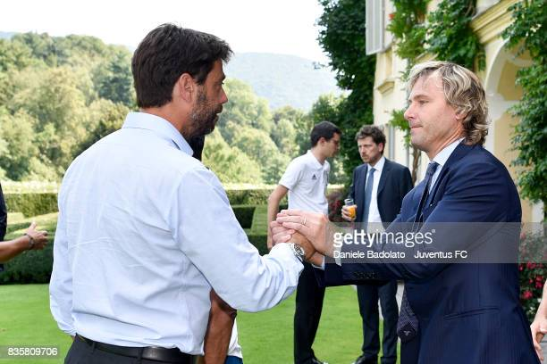 Andrea Agnelli and Pavel Nedved during the preseason friendly match between Juventus A and Juventus B on August 17 2017 in Villar Perosa Italy