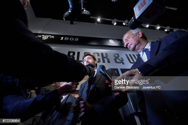 Andrea Agnelli and Walter Veltroni during the Juventus 120 Years Exhibition Opening at Juventus Museum on November 9 2017 in Turin Italy