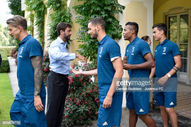 Andrea Agnelli Mattia De Sciglio and Alex Sandro during the preseason friendly match between Juventus A and Juventus B on August 17 2017 in Villar...