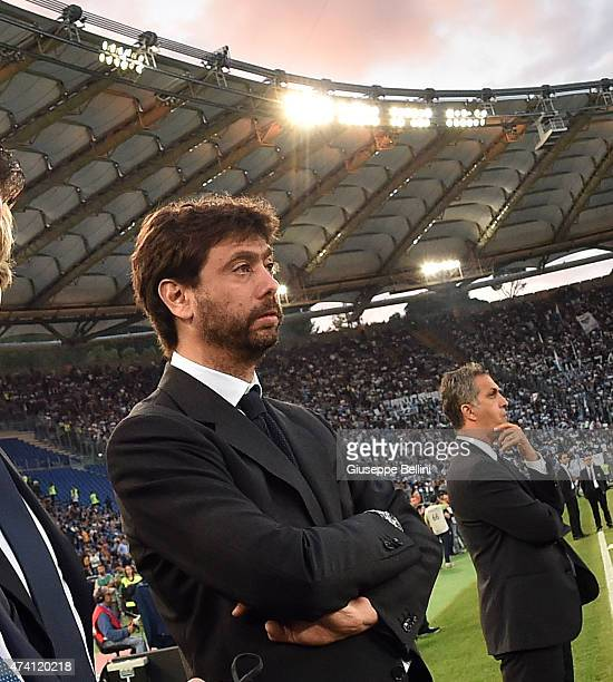 Andrea Agnelli of Juventus before the TIM Cuo final match between SS Lazio and Juventus FC at Olimpico Stadium on May 20 2015 in Rome Italy