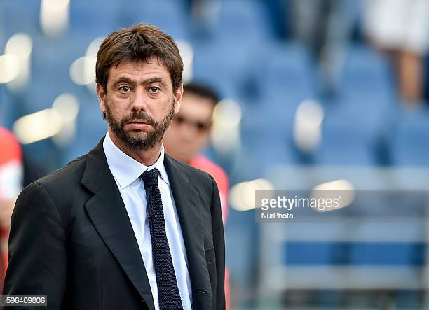Andrea Agnelli owner of Juventua during the Serie A match between Lazio v Juventus on August 27 2016 in Rome Italy