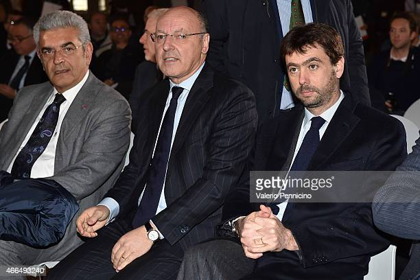 Andrea Agnelli President of Juventus FC and Juventus General Director Giuseppe Marotta attend during the Italian Football Federation press conference...