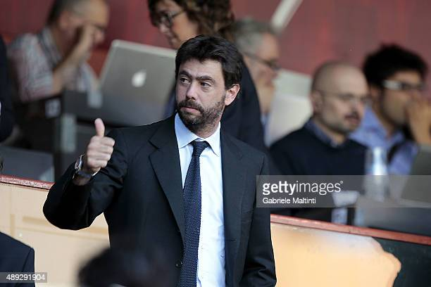 Andrea Agnelli president of Juventus FC during the Serie A match between Genoa CFC and Juventus FC at Stadio Luigi Ferraris on September 20 2015 in...