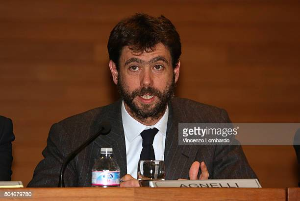 Andrea Agnelli speaks during the Financial Fairplay Europe Italy Workshop on January 12 2016 in Milan Italy