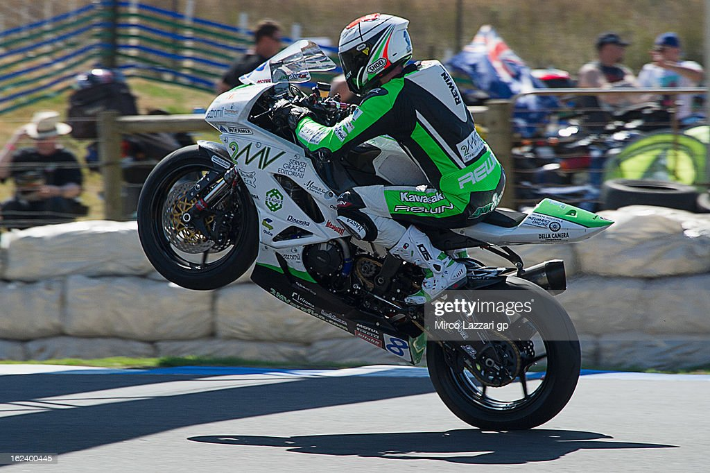 Andrea Antonelli of Italy and Team Goeleven lifts the front wheel during the qualifying during the round first of 2013 Supersport FIM World Championship at Phillip Island Grand Prix Circuit on February 23, 2013 in Phillip Island, Australia.