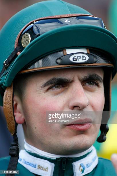Andrea Atzeni poses at Doncaster Racecourse on April 1 2017 in Doncaster England