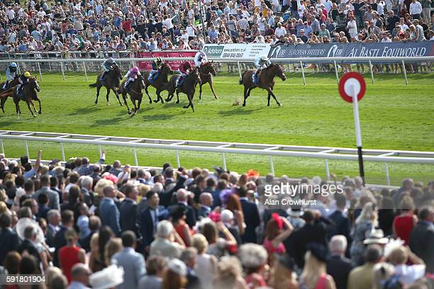 Andrea Atzeni riding Abingdon win The EBF Sir Henry Cecil Galtres Stakes at York racecourse on August 18 2016 in York England