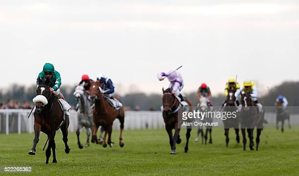 Andrea Atzeni riding Baadi win The Call Star Sports Maiden Stakes at Windsor Racecourse on April 18 2016 in Windsor England