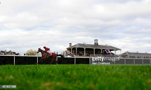 Andrea Atzeni riding Elm Park win The Racing Post Trophy at Doncaster racecourse on October 25 2014 in Doncaster England