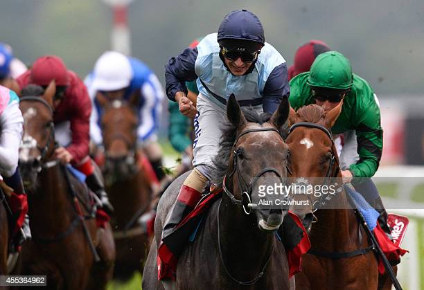Andrea Atzeni riding Kingston Hill win The Ladbrokes St Leger Stakes at Doncaster racecourse on September 13 2014 in Doncaster England