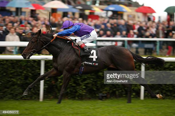 Andrea Atzeni riding Marcel win The Racing Post Trophy at Doncaster racecourse on October 24 2015 in Doncaster England