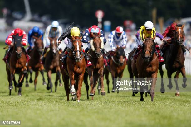 Andrea Atzeni riding Stradivarius win The Qatar Goodwood Cup series from Big Orange on day one of the Qatar Goodwood Festival at Goodwood racecourse...