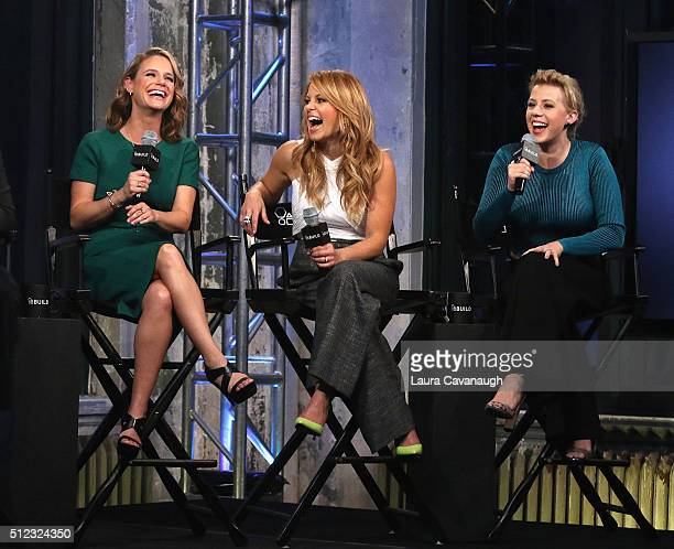 Andrea Barber Candace Cameron Bure and Jodie Sweetin attend AOL Build Speakers Series to discuss 'Fuller House' at AOL Studios in New York on...