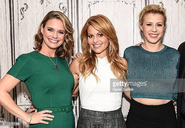 Andrea Barber Candace Cameron Bure and Jodie Sweetin attend the AOL Build Speakers Series to discuss 'Fuller House' at AOL Studios In New York on...