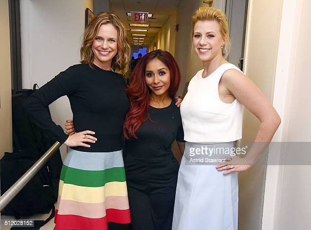 Andrea Barber Nicole 'Snooki' Polizzi LaValle and Jodie Sweetin visit the SiriusXM Studios on February 24 2016 in New York City