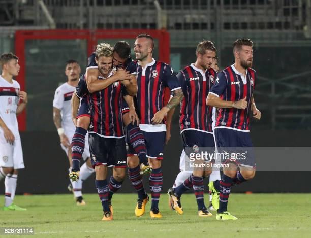 Andrea Barberis of Crotone celebrates after scoring his team's second goal during the PreSeason Friendly match between FC Crotone and Cagliari Calcio...