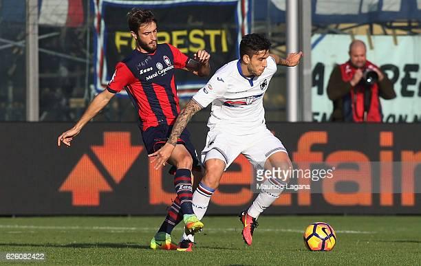 Andrea Barberis of Crotone competes for the ball with Ricardo Alvarez of Sampdoria during the Serie A match between FC Crotone and UC Sampdoria at...