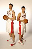 Andrea Bargnani and Carlos Delfino of the Toronto Raptors pose for a portrait during NBA Media Day on October 16 2007 at Air Canada Centre in Toronto...