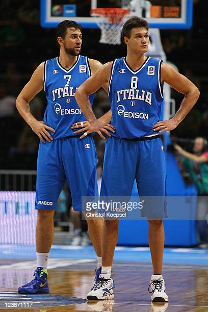Andrea Bargnani and Danilo Gallniari of Italy look dejected after losing 9596 the EuroBasket 2011 first round group B match between Israel and Italy...