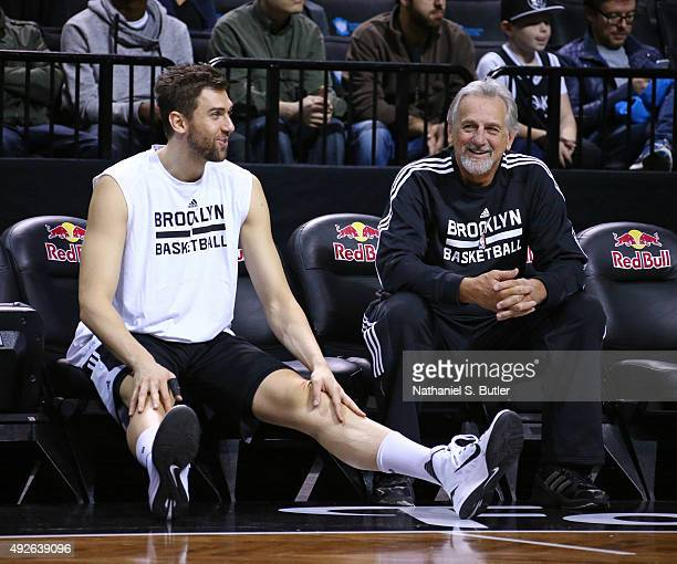 Andrea Bargnani and Paul Westphal of the Brooklyn Nets sit on the bench during the Open Practice on October 11 2015 at Barclays Center in Brooklyn NY...