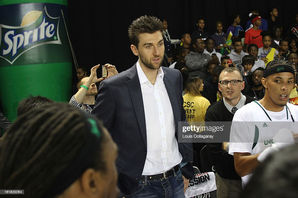 Andrea Bargnani during the 2013 NBA All-Star Celebrity Game at George R. Brown Convention Center on February 15, 2013 in Houston, Texas.
