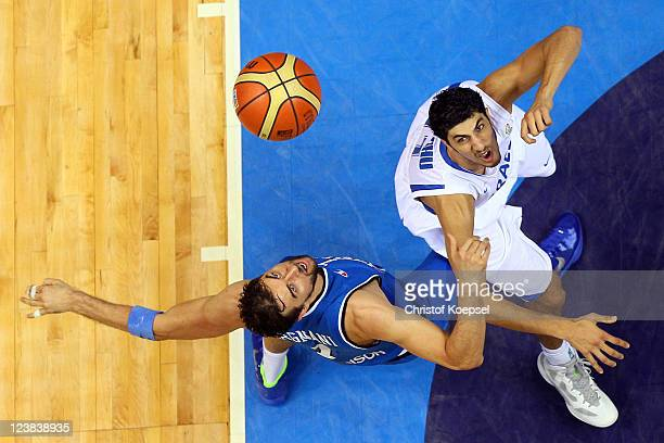 Andrea Bargnani of Italy and Lior Eliyahu of Israel fight for the ball during the EuroBasket 2011 first round group B match between Israel and Italy...