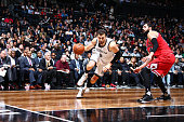 Andrea Bargnani of the Brooklyn Nets drives to the basket against the Chicago Bulls on October 28 2015 at Barclays Center in Brooklyn New York NOTE...