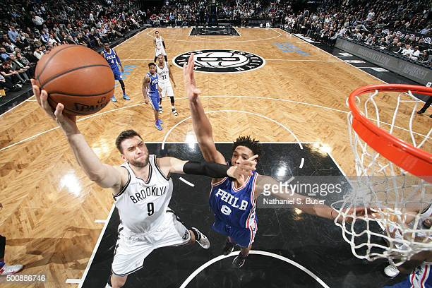 Andrea Bargnani of the Brooklyn Nets shoots the ball against the Philadelphia 76ers on December 10 2015 at Barclays Center in Brooklyn New York NOTE...